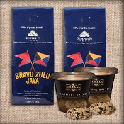 Bravo Zulu Java coffee and dibella biscotti